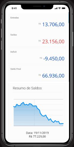 App Contabilidade Online DNA Financeiro, Tela de Fluxo de Caixa, Contas Bancárias com integração com o seu Internet Banking
