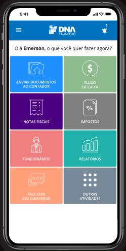App Contabilidade Online DNA Financeiro, Tela de Emissão de Boletos, Pagamentos e Transferência